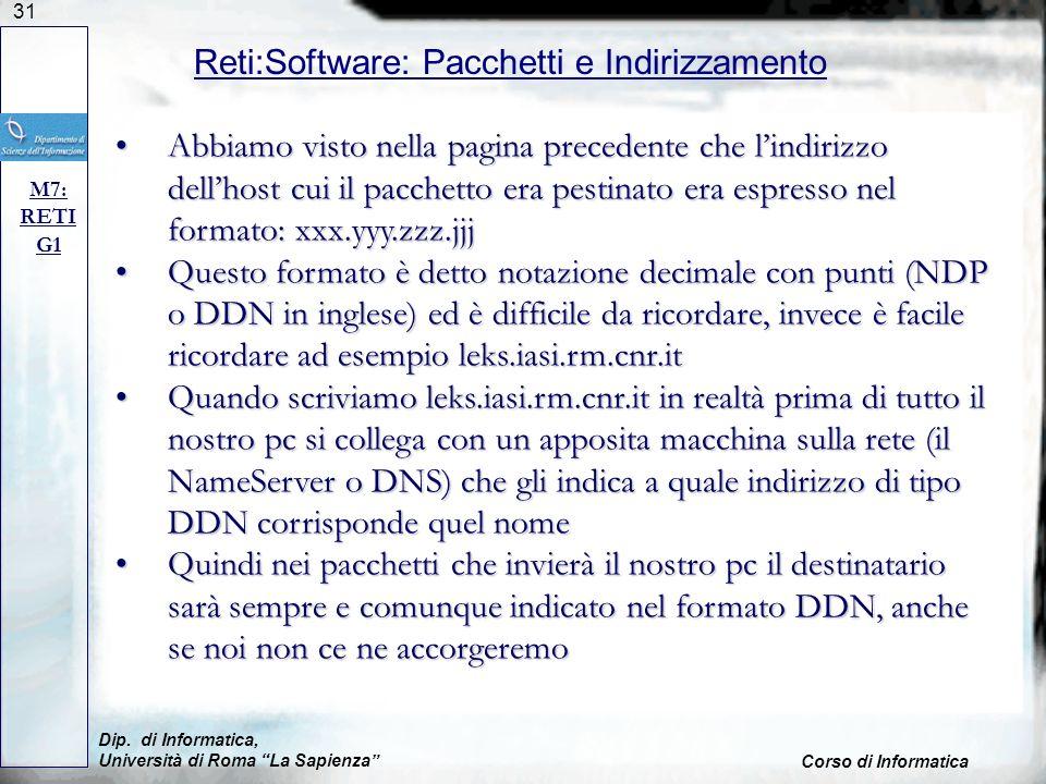 Reti:Software: Pacchetti e Indirizzamento