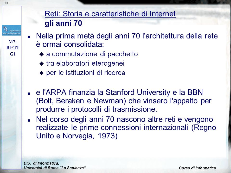 Reti: Storia e caratteristiche di Internet gli anni 70
