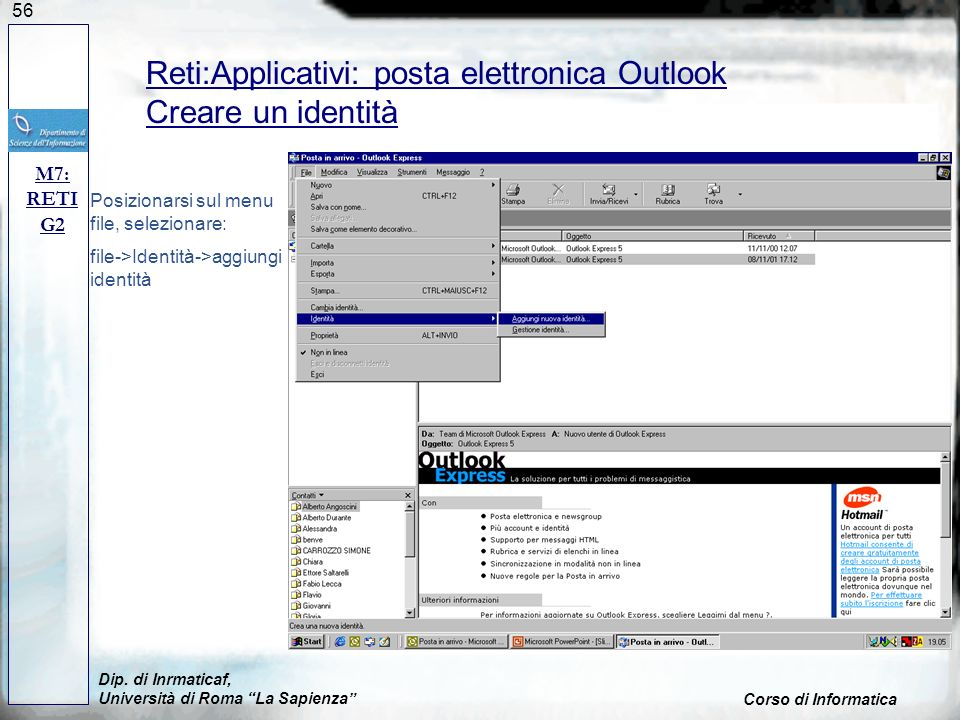Reti:Applicativi: posta elettronica Outlook Creare un identità