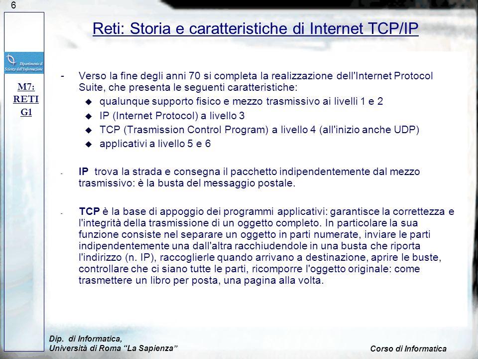 Reti: Storia e caratteristiche di Internet TCP/IP