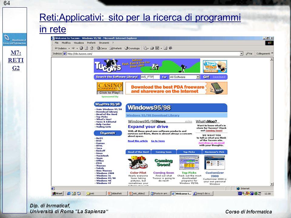 Reti:Applicativi: sito per la ricerca di programmi in rete