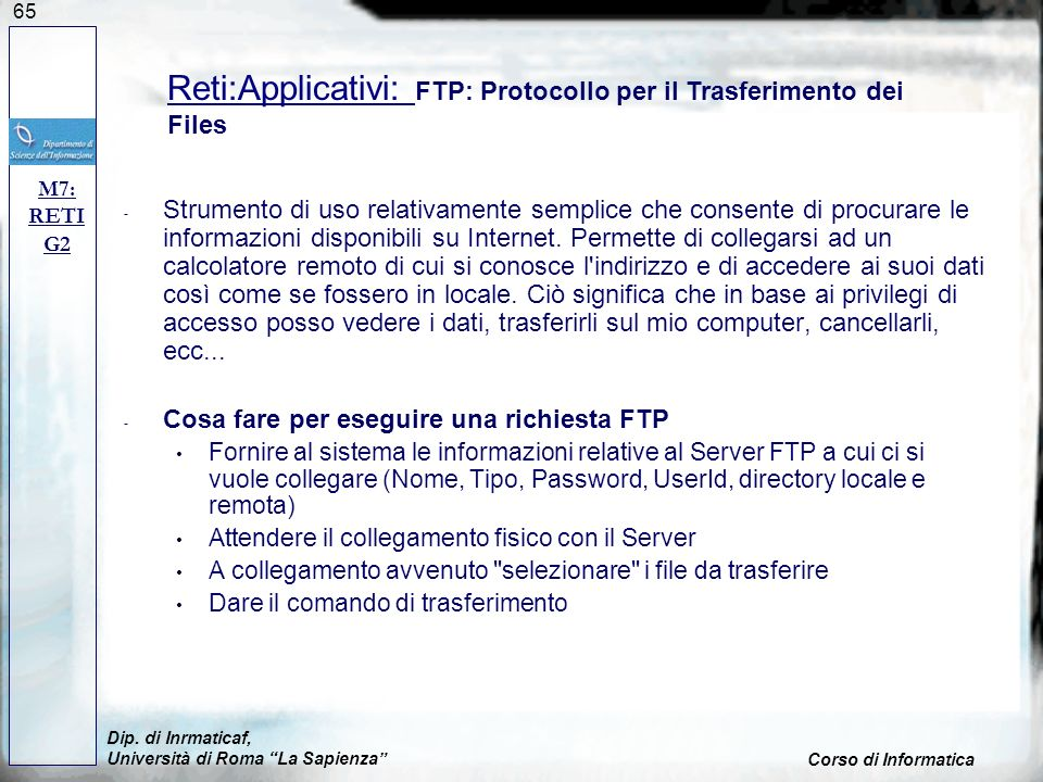 Reti:Applicativi: FTP: Protocollo per il Trasferimento dei Files