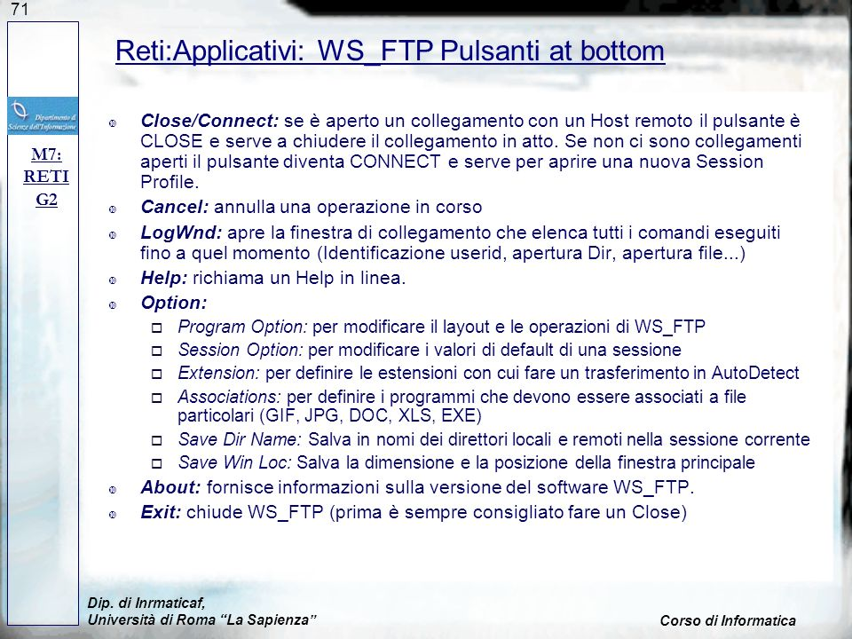Reti:Applicativi: WS_FTP Pulsanti at bottom