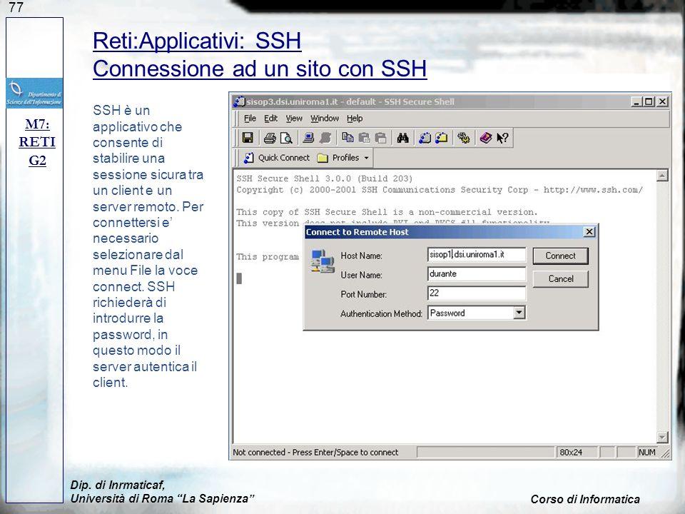 Reti:Applicativi: SSH Connessione ad un sito con SSH