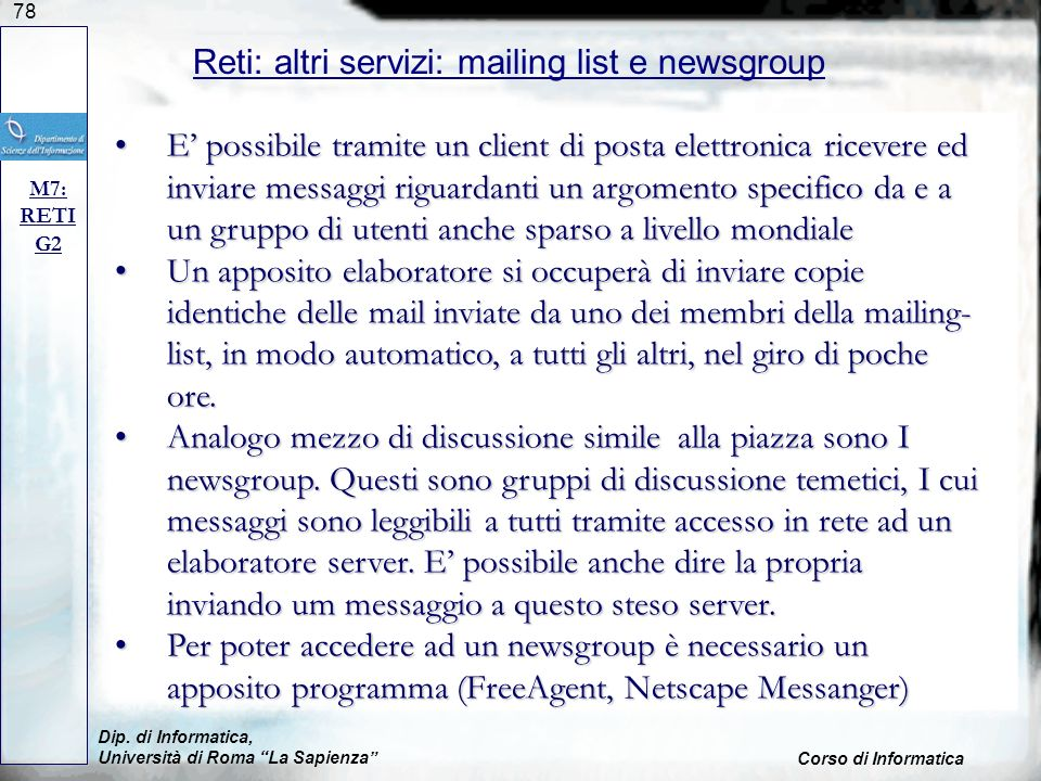 Reti: altri servizi: mailing list e newsgroup