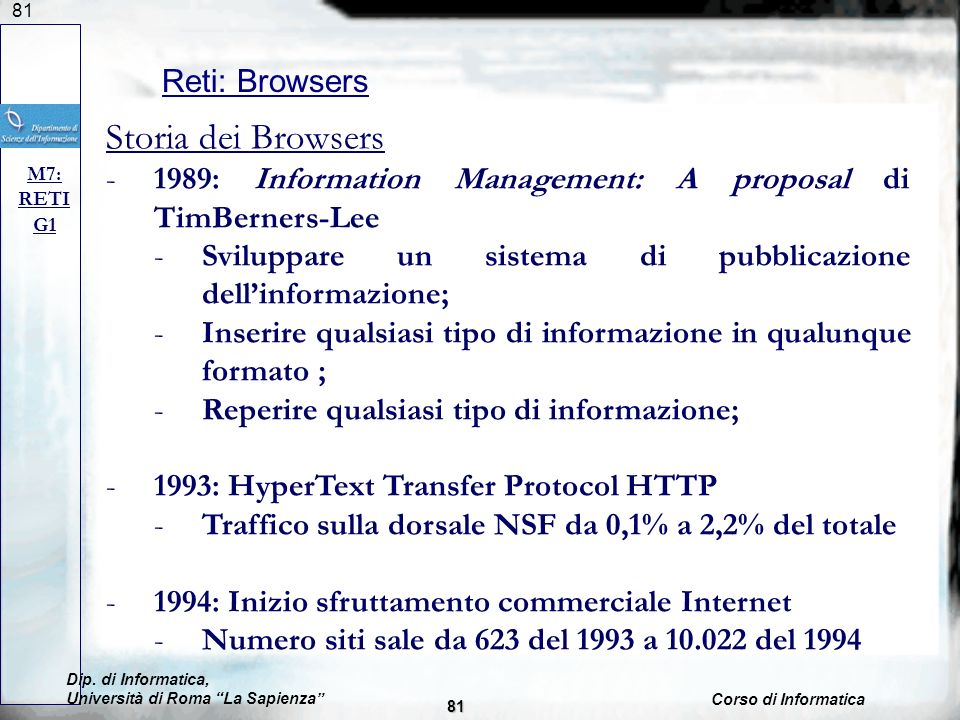 Storia dei Browsers Reti: Browsers