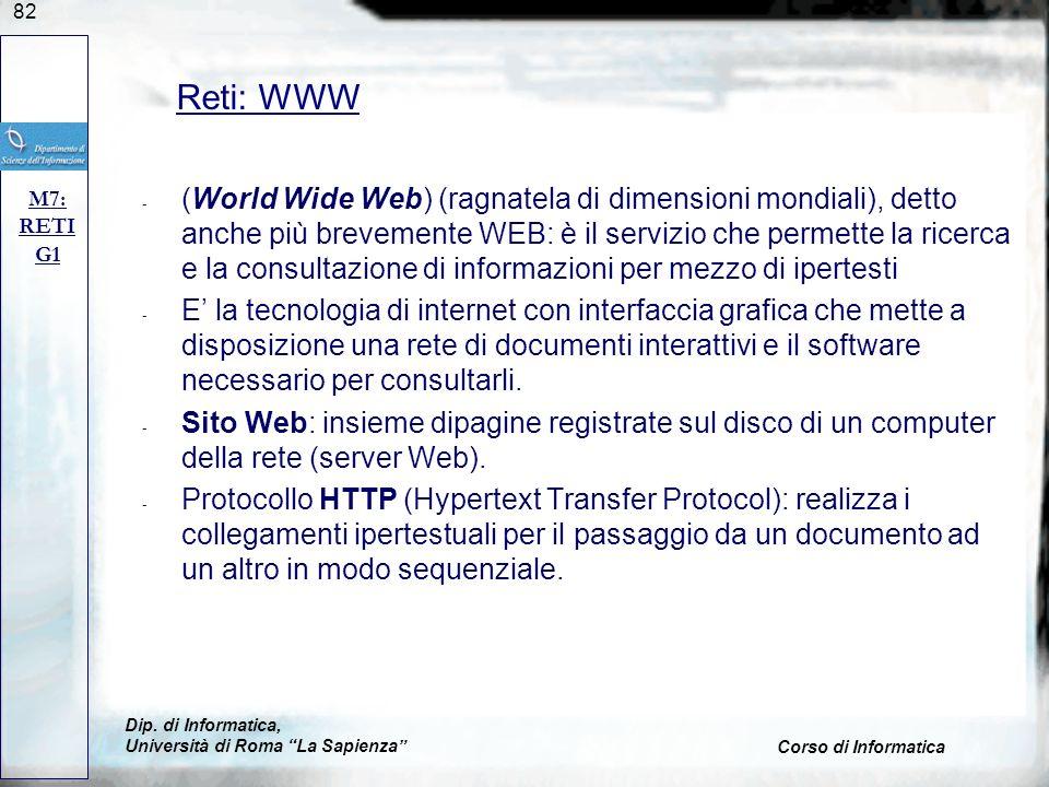 Reti: WWW M7: RETI. G1.