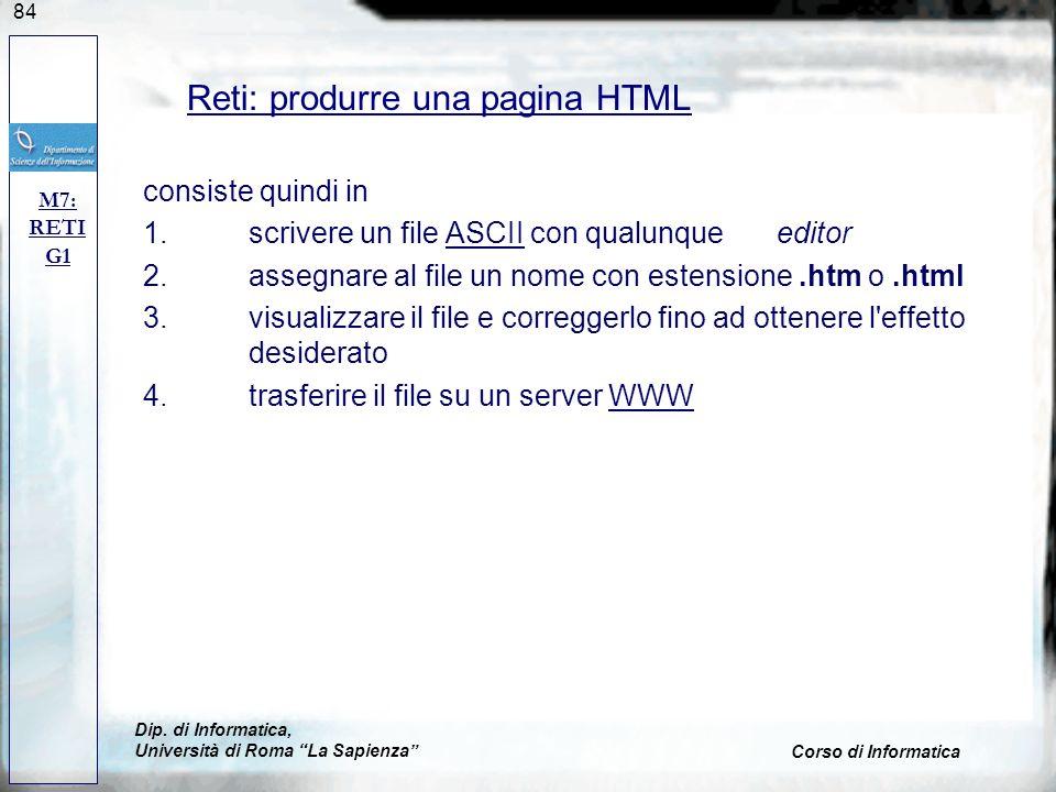 Reti: produrre una pagina HTML