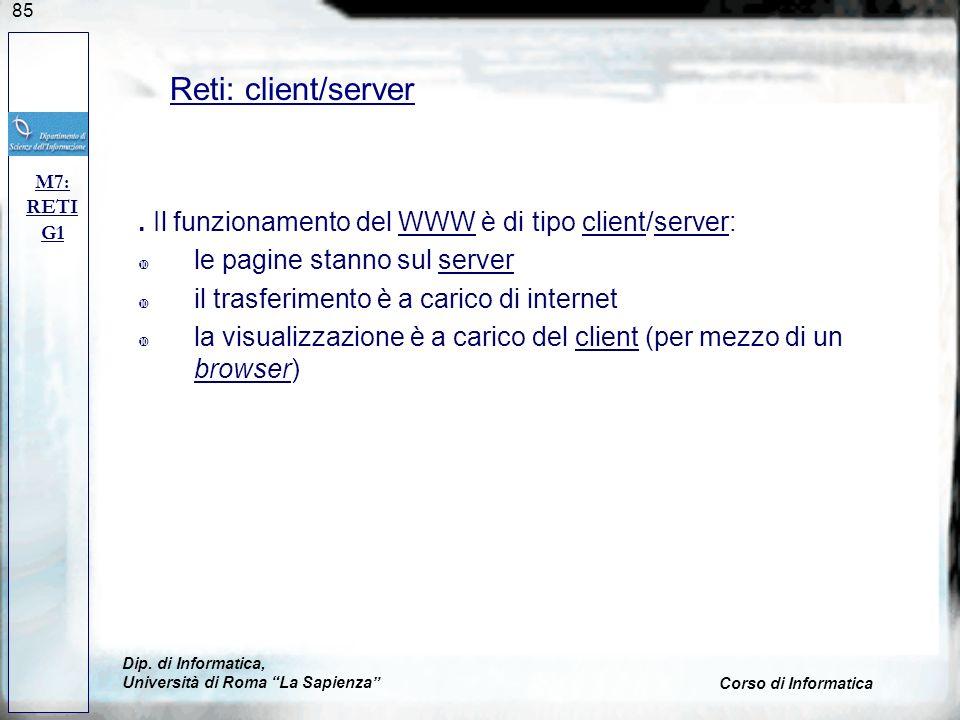 Reti: client/server M7: RETI. G1. . Il funzionamento del WWW è di tipo client/server: le pagine stanno sul server.