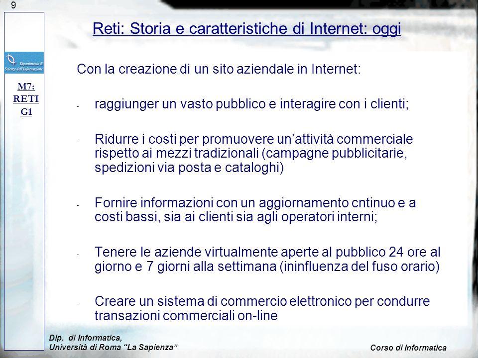 Reti: Storia e caratteristiche di Internet: oggi