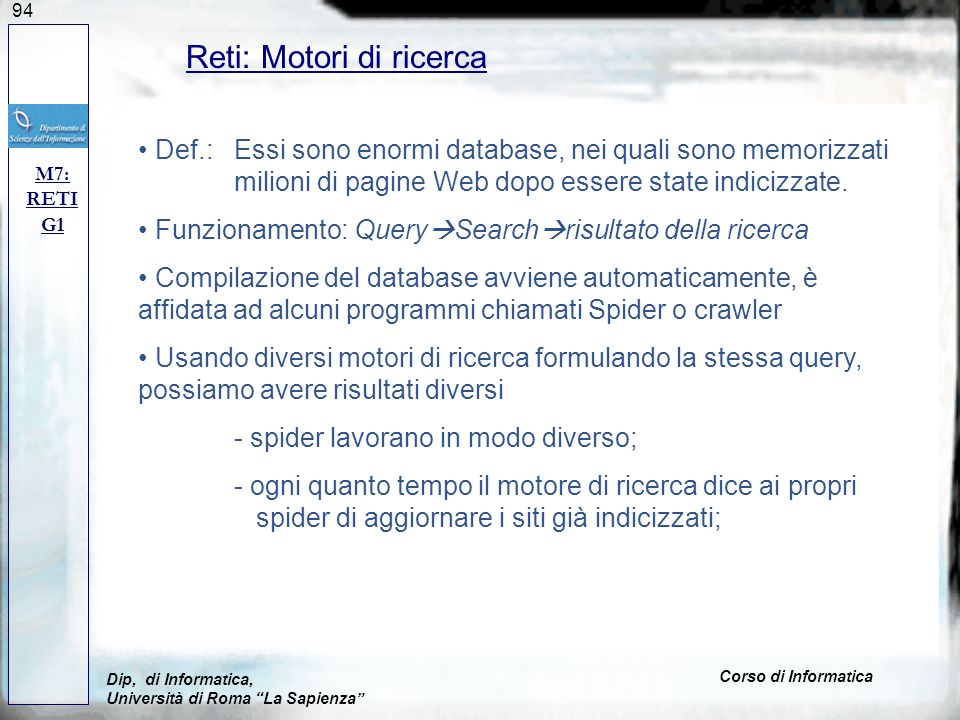 Reti: Motori di ricerca