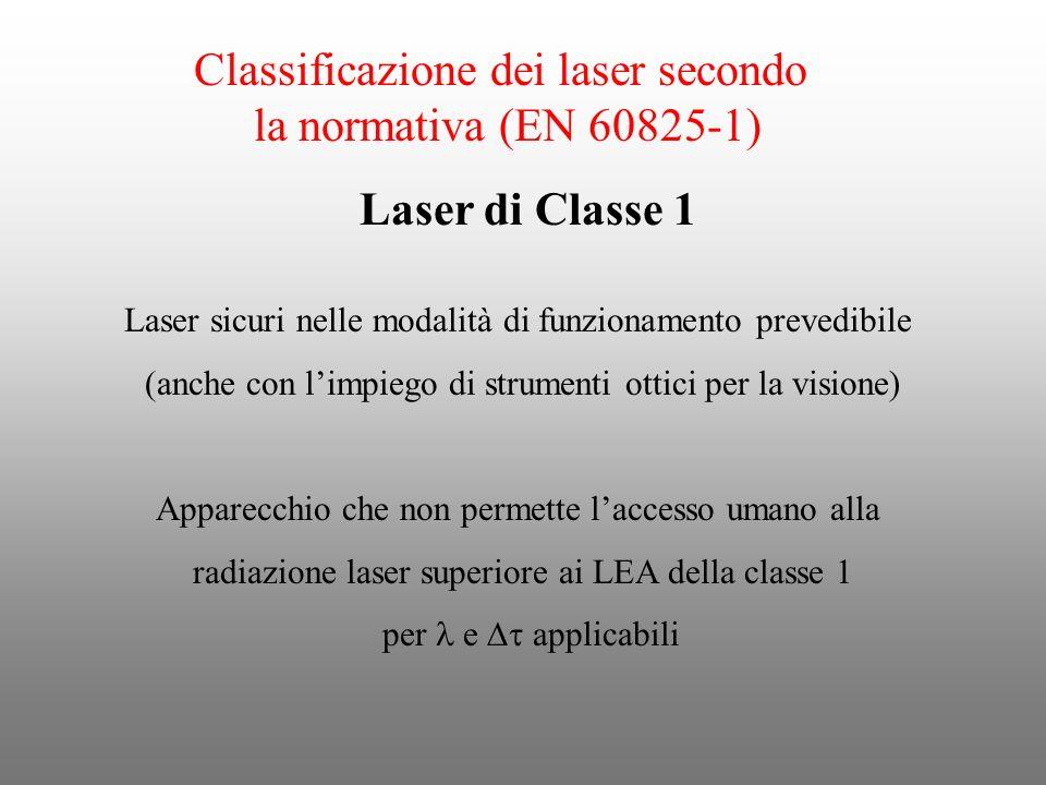 Classificazione dei laser secondo la normativa (EN 60825-1)