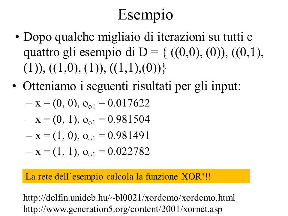 Esempio Dopo qualche migliaio di iterazioni su tutti e quattro gli esempio di D = { ((0,0), (0)), ((0,1), (1)), ((1,0), (1)), ((1,1),(0))}