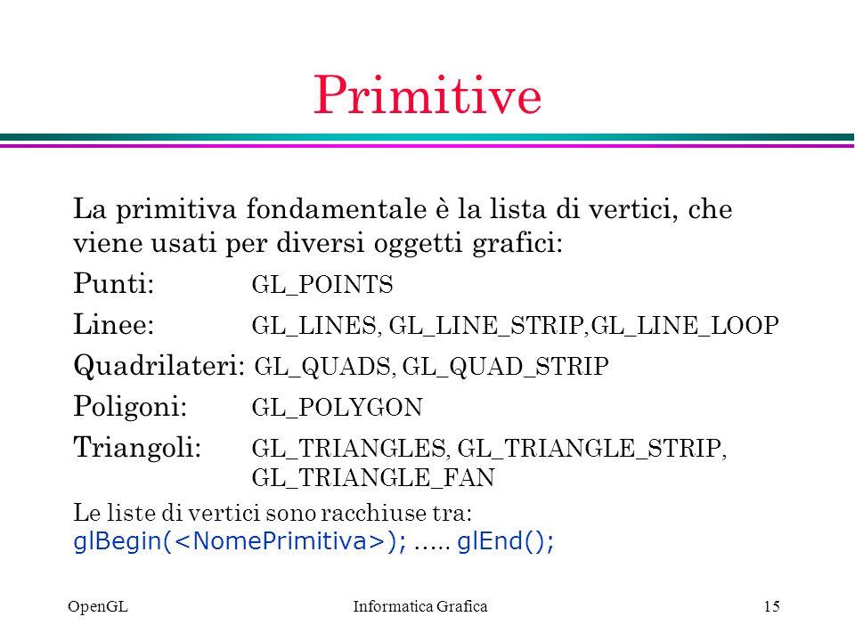 Primitive La primitiva fondamentale è la lista di vertici, che viene usati per diversi oggetti grafici: