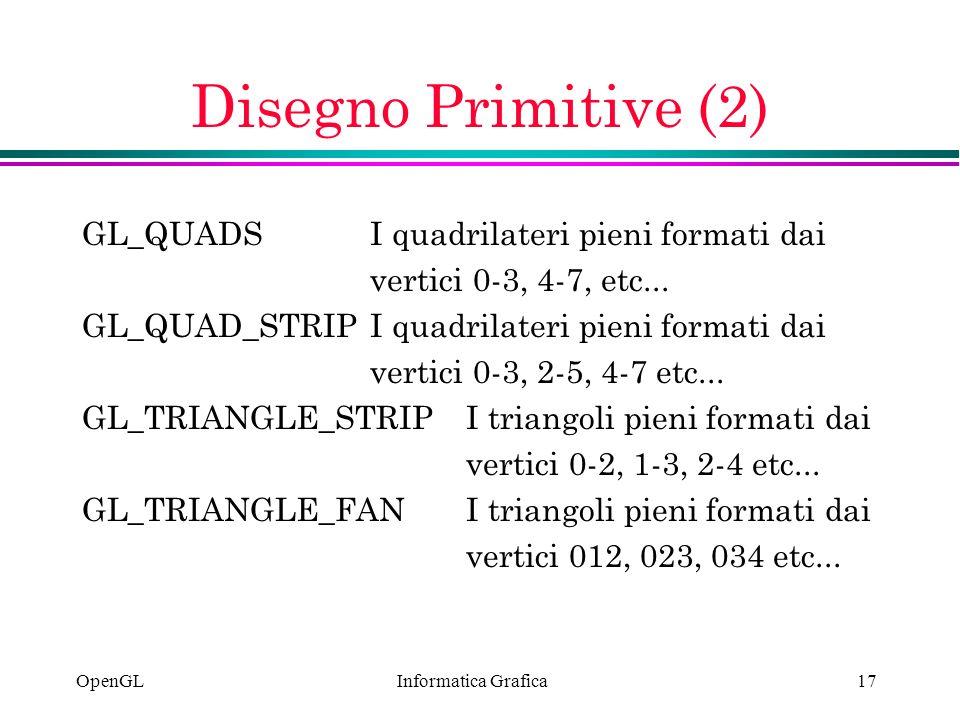 Disegno Primitive (2) GL_QUADS I quadrilateri pieni formati dai