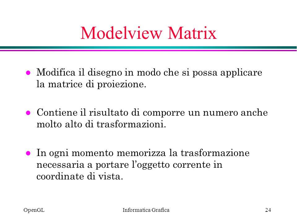 Modelview Matrix Modifica il disegno in modo che si possa applicare la matrice di proiezione.