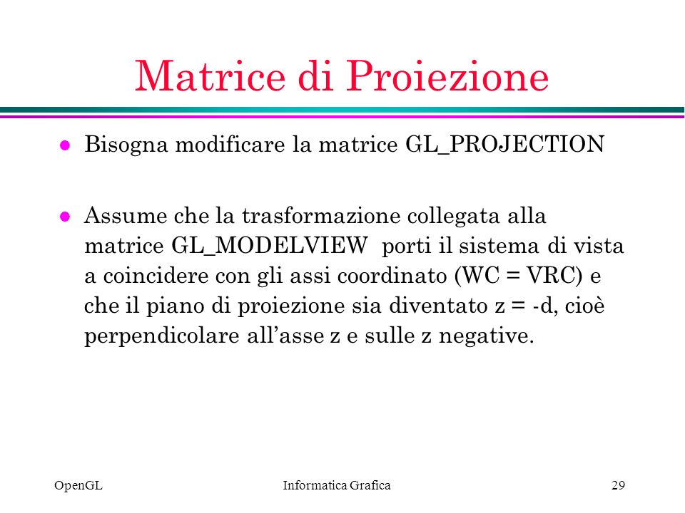 Matrice di Proiezione Bisogna modificare la matrice GL_PROJECTION