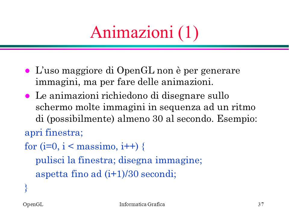 Animazioni (1) L'uso maggiore di OpenGL non è per generare immagini, ma per fare delle animazioni.