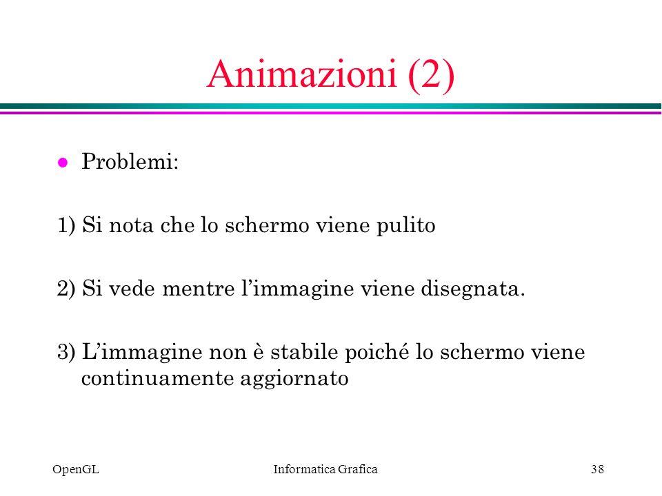 Animazioni (2) Problemi: 1) Si nota che lo schermo viene pulito