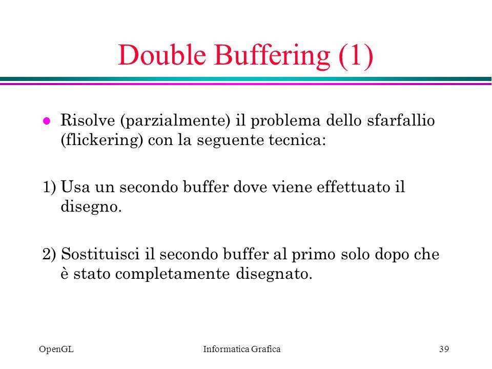 Double Buffering (1) Risolve (parzialmente) il problema dello sfarfallio (flickering) con la seguente tecnica: