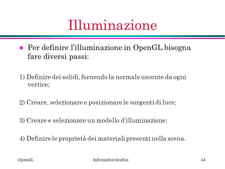 Illuminazione Per definire l'illuminazione in OpenGL bisogna fare diversi passi: