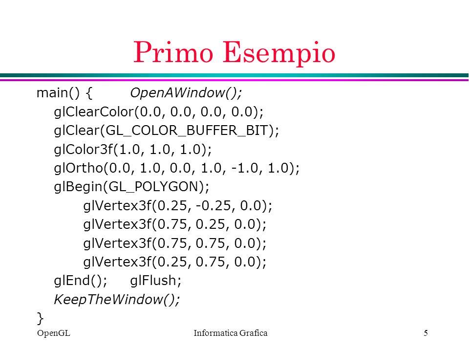 Primo Esempio main() { OpenAWindow();