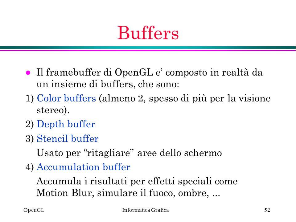 Buffers Il framebuffer di OpenGL e' composto in realtà da un insieme di buffers, che sono: