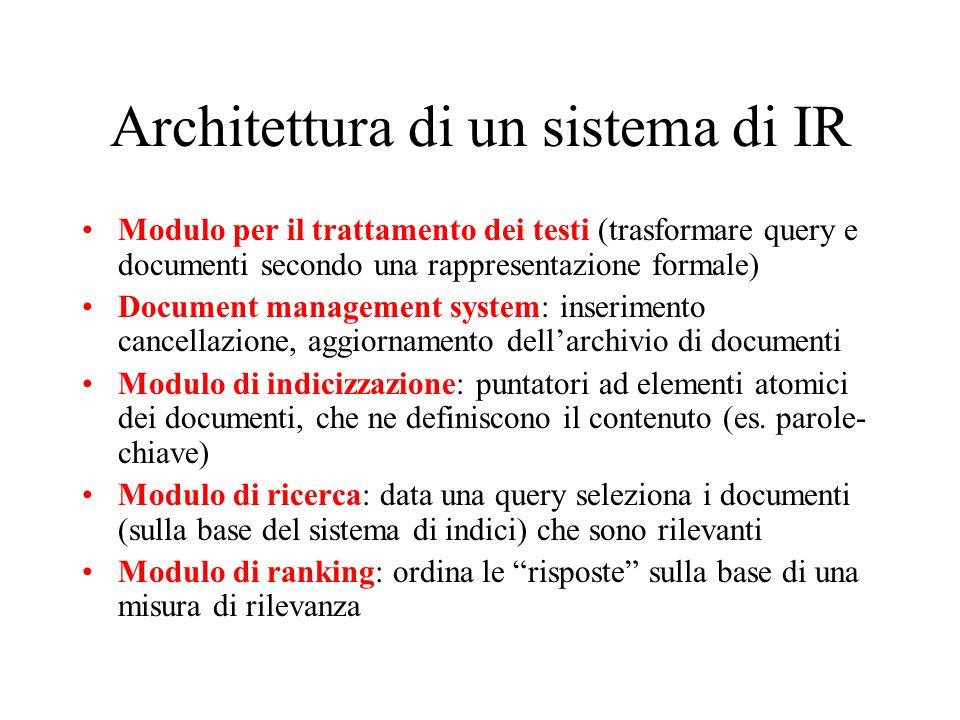 Architettura di un sistema di IR