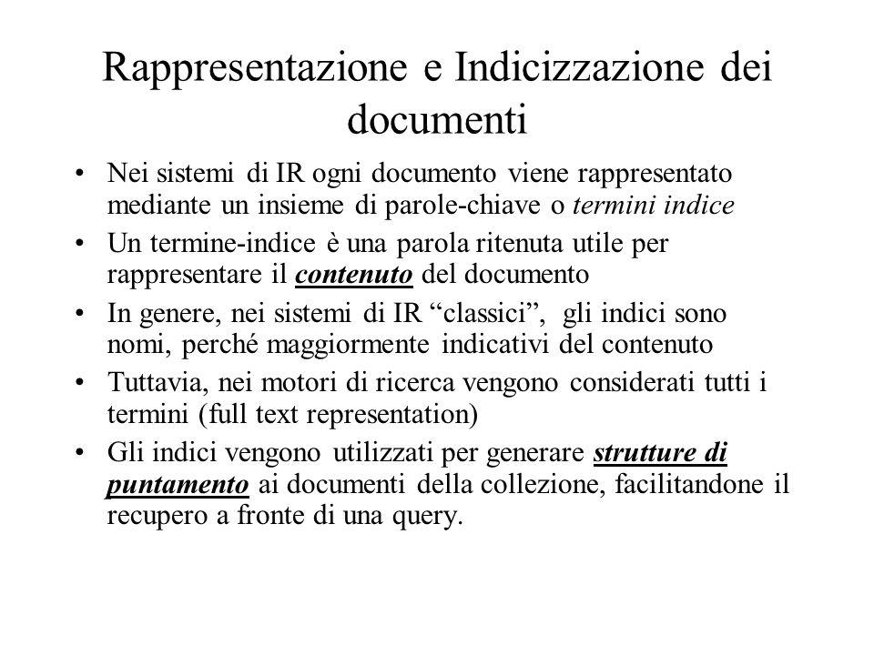 Rappresentazione e Indicizzazione dei documenti