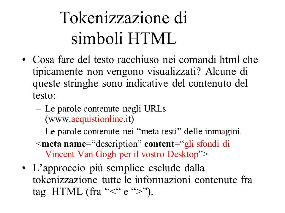 Tokenizzazione di simboli HTML