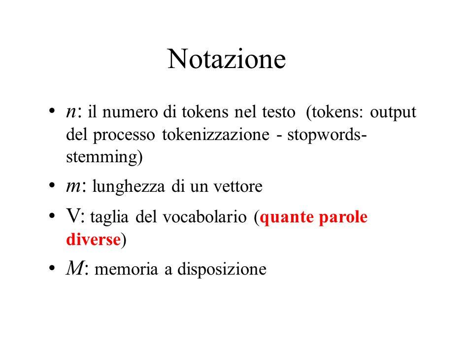 Notazione n: il numero di tokens nel testo (tokens: output del processo tokenizzazione - stopwords- stemming)