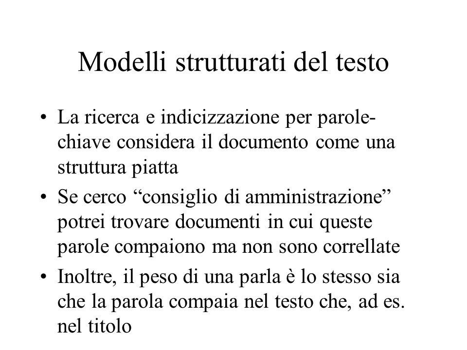 Modelli strutturati del testo
