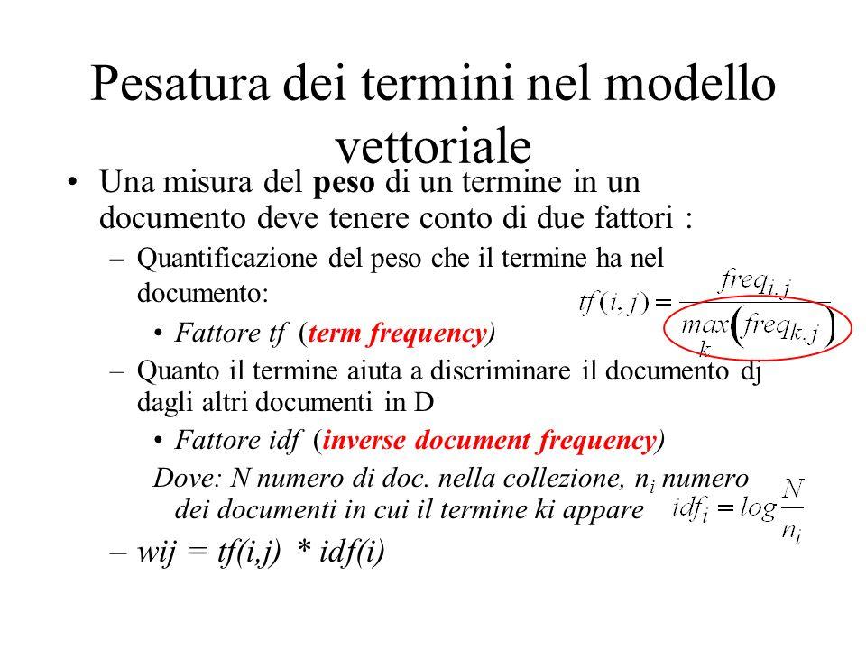 Pesatura dei termini nel modello vettoriale