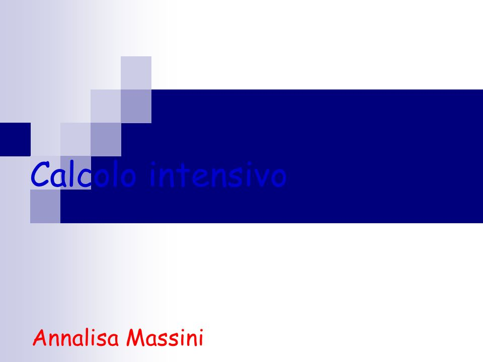 Calcolo intensivo Annalisa Massini