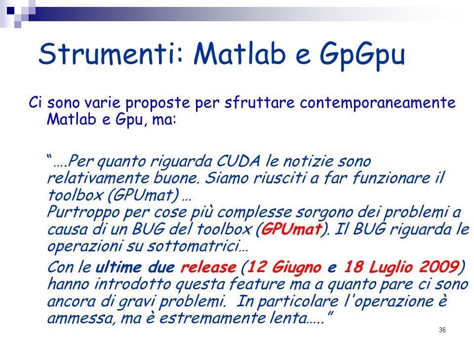 Strumenti: Matlab e GpGpu