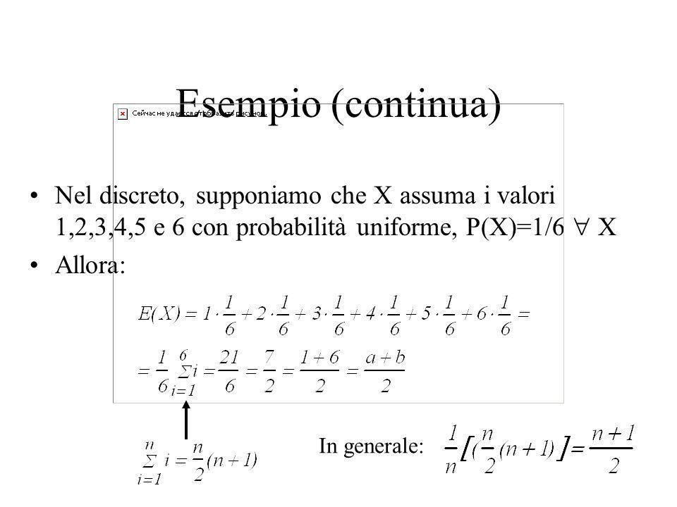 Esempio (continua) Nel discreto, supponiamo che X assuma i valori 1,2,3,4,5 e 6 con probabilità uniforme, P(X)=1/6  X.