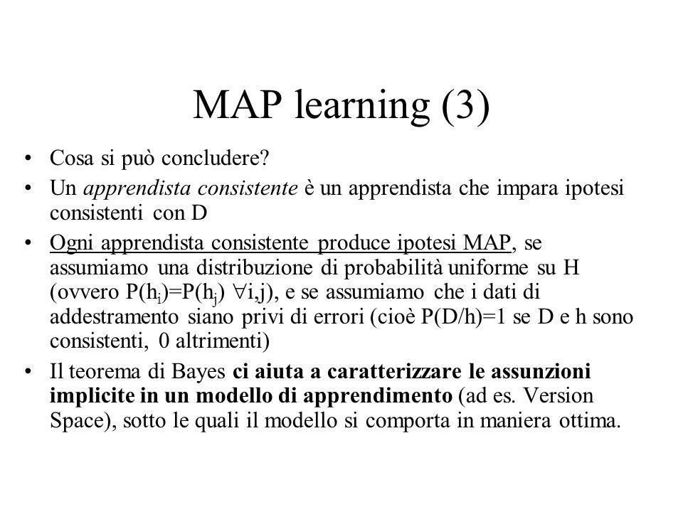 MAP learning (3) Cosa si può concludere