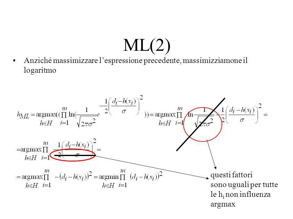 ML(2) Anziché massimizzare l'espressione precedente, massimizziamone il logaritmo. questi fattori.