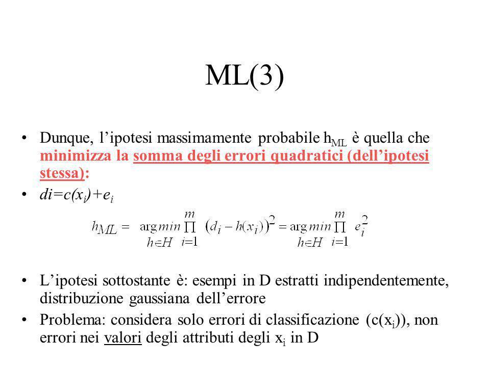 ML(3) Dunque, l'ipotesi massimamente probabile hML è quella che minimizza la somma degli errori quadratici (dell'ipotesi stessa):