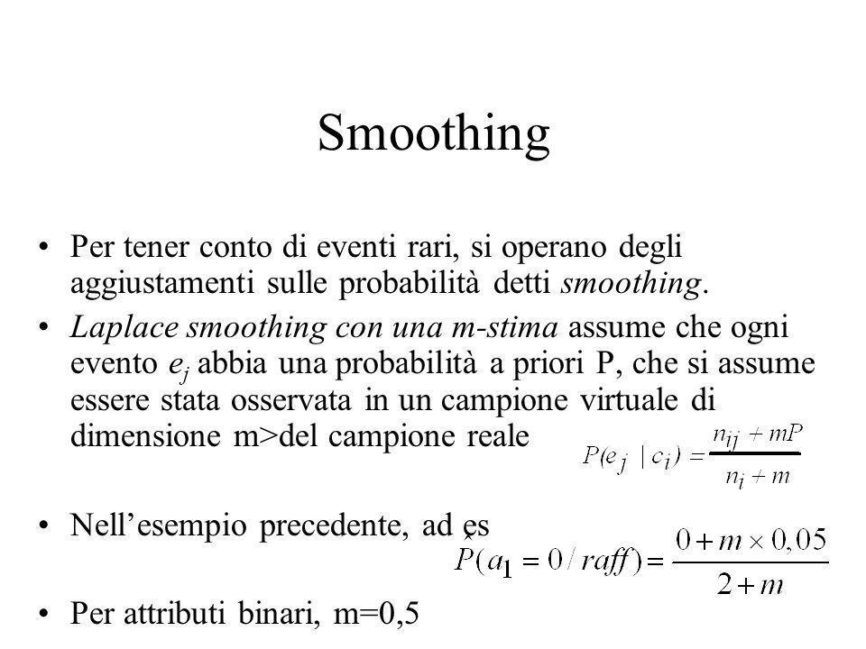 Smoothing Per tener conto di eventi rari, si operano degli aggiustamenti sulle probabilità detti smoothing.