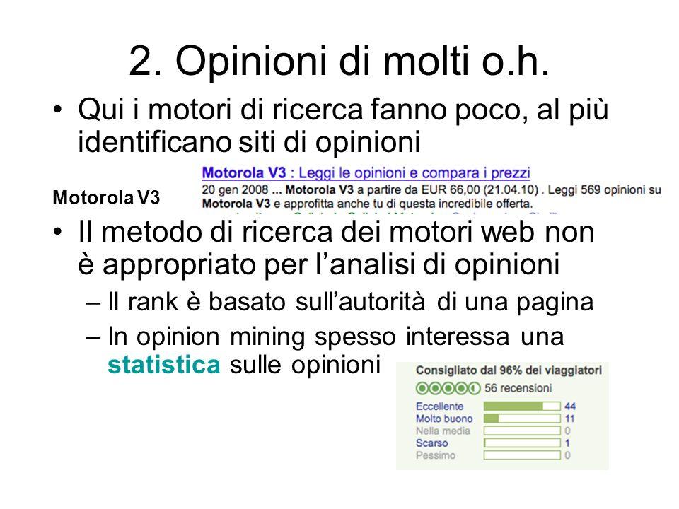2. Opinioni di molti o.h. Qui i motori di ricerca fanno poco, al più identificano siti di opinioni.