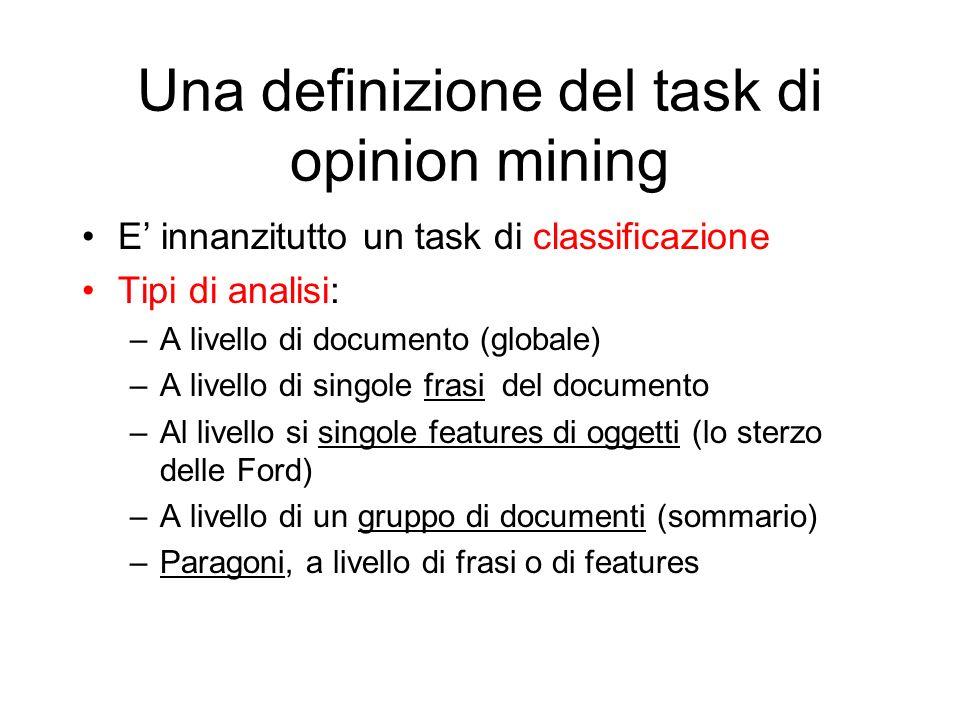 Una definizione del task di opinion mining