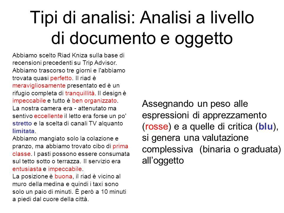 Tipi di analisi: Analisi a livello di documento e oggetto