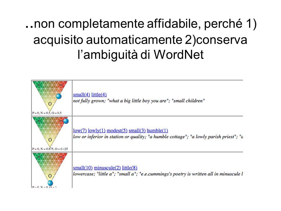 ..non completamente affidabile, perché 1) acquisito automaticamente 2)conserva l'ambiguità di WordNet