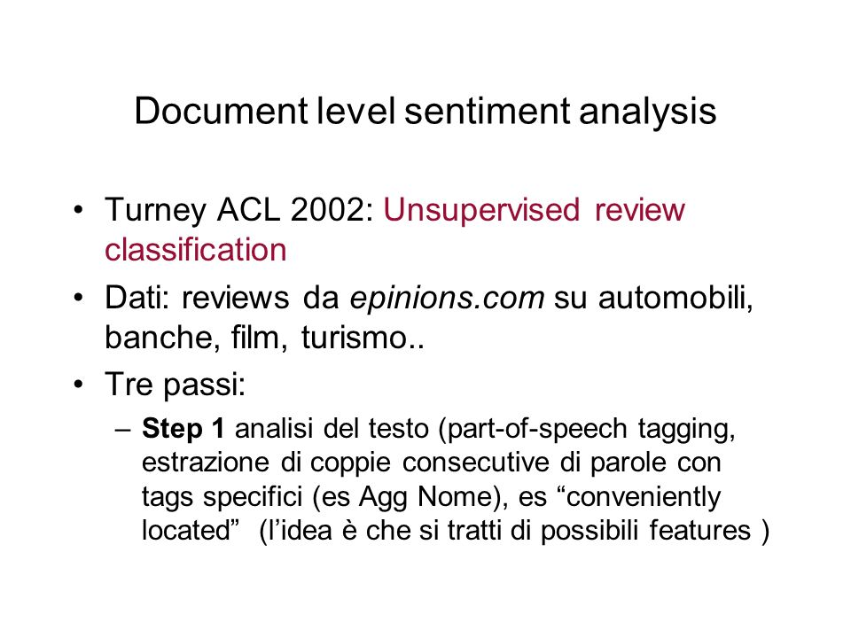Document level sentiment analysis