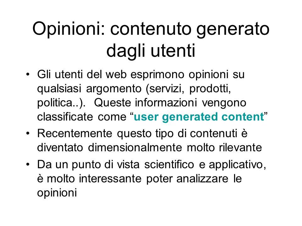 Opinioni: contenuto generato dagli utenti