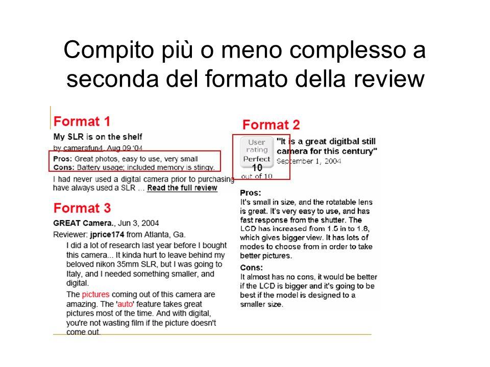 Compito più o meno complesso a seconda del formato della review