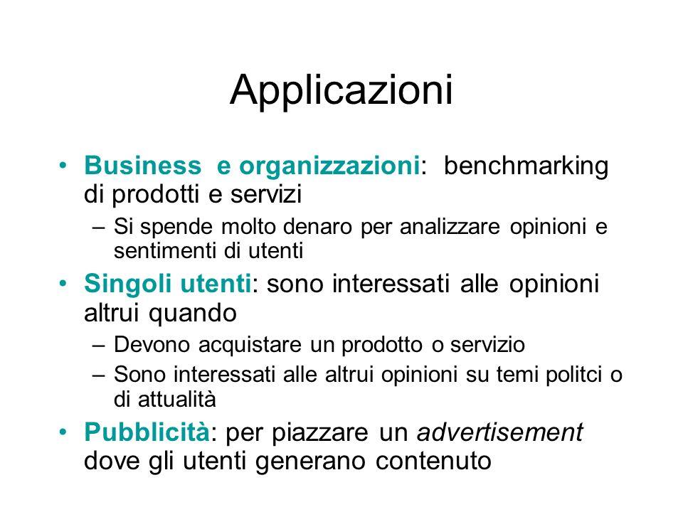 Applicazioni Business e organizzazioni: benchmarking di prodotti e servizi. Si spende molto denaro per analizzare opinioni e sentimenti di utenti.