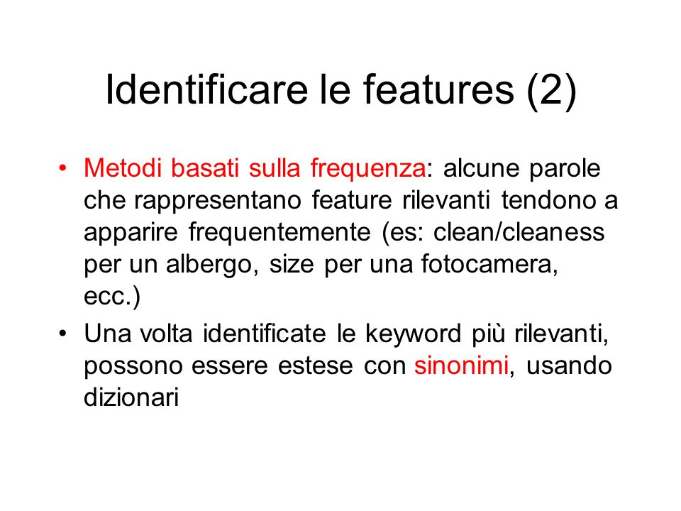 Identificare le features (2)