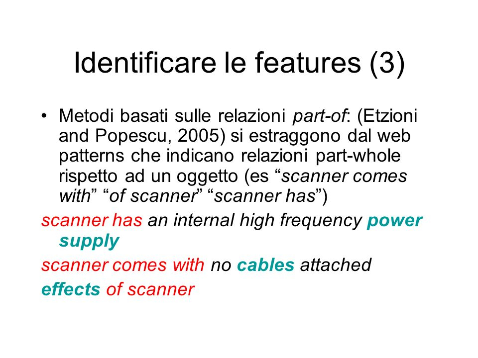 Identificare le features (3)